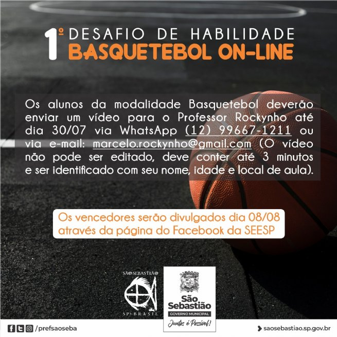 São Sebastião promove 1° Desafio de Habilidades Basquetebol Online