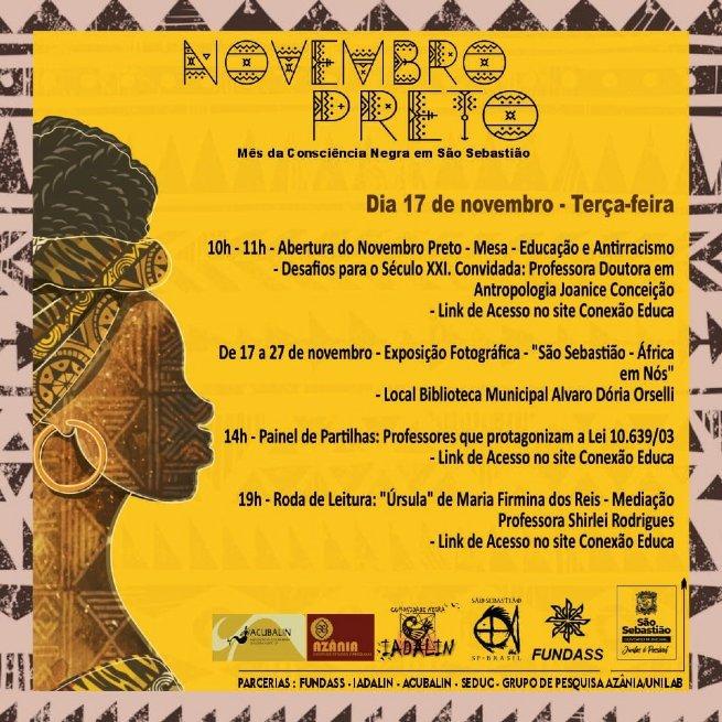 Prefeitura de São Sebastião realiza evento online em comemoração ao mês da Consciência Negra