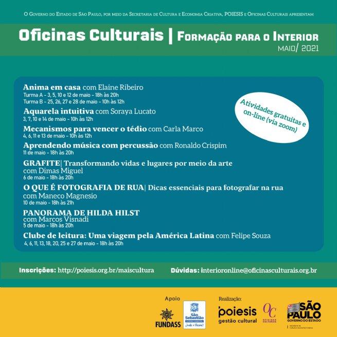 Prefeitura de São Sebastião oferece diversas Oficinas Culturais online em parceria com Governo do Estado de São Paulo