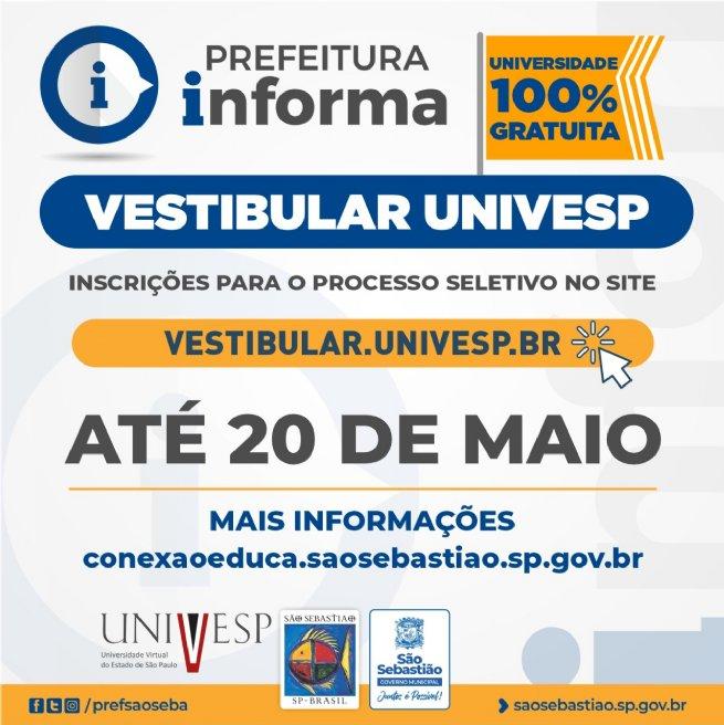 Univesp – Polo São Sebastião está com inscrições abertas para o vestibular até 20 de maio