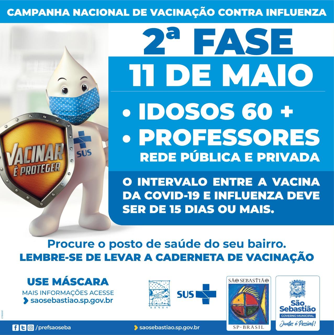 Vacinação contra gripe (Influenza) para professores e pessoas com 60 anos ou mais começa nesta terça-feira (11) em São Sebastião