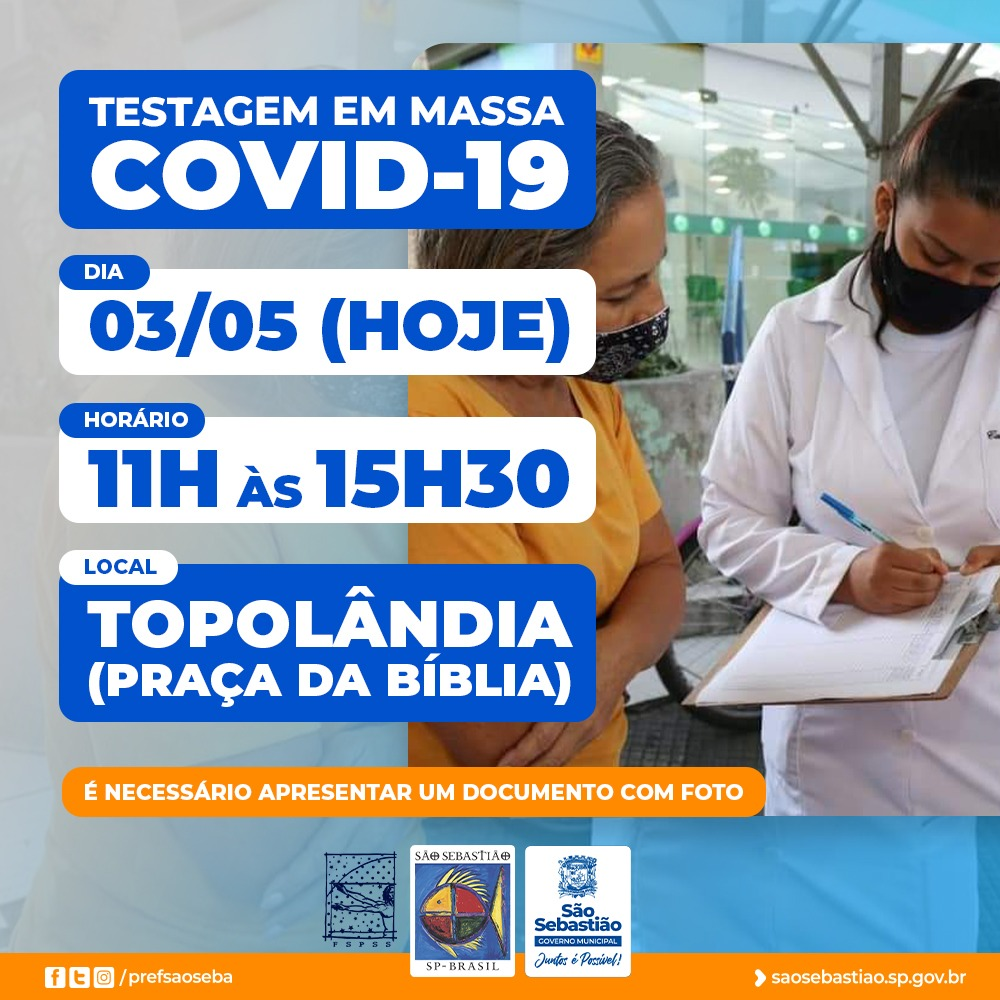 Prefeitura de São Sebastião realiza testagem em massa para Covid-19 na Topolândia nesta segunda-feira (03)
