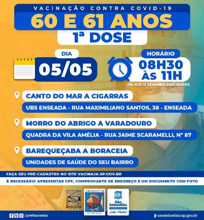 Vacinação contra Covid-19 para pessoas de 60 e 61 anos começa na quarta-feira (05) em São Sebastião