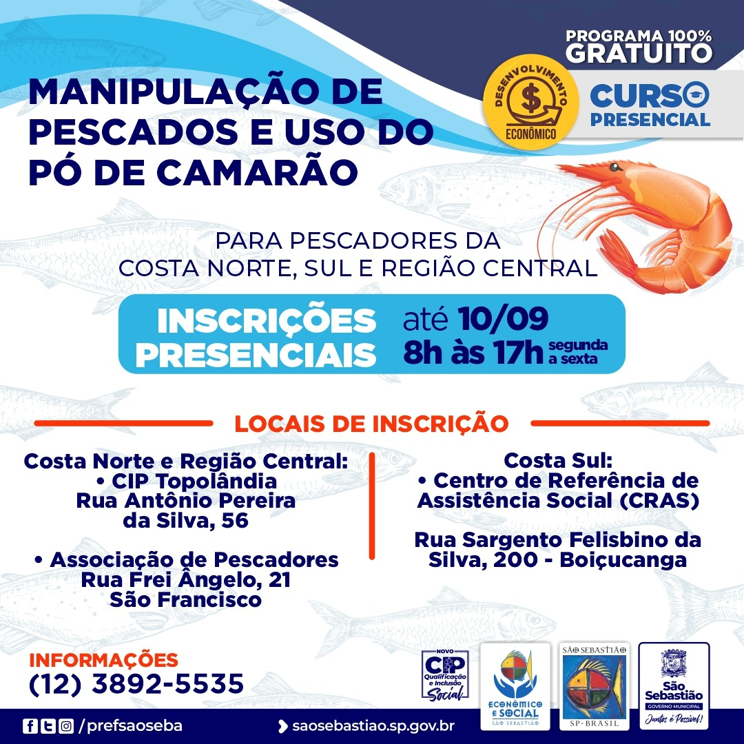 Prefeitura abre inscrições para curso gratuito de Manipulação de Pescados e Uso de Pó de Camarão